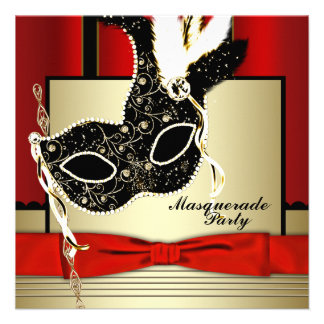 Black Gold Mask Red Black Masquerade Party Personalized Announcements