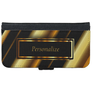 Black & Gold Metallic Diagonal Stripes iPhone 6 Wallet Case