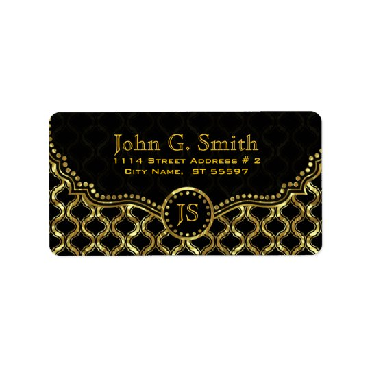Black & Gold Metallic Quatrefoil Pattern Address Label