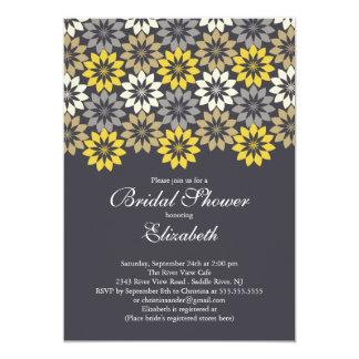 Black& Gold Modern Blooms Floral Bridal Shower Card