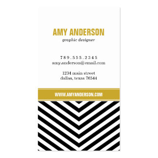 Black & Gold Modern Chevron Stripes Double-Sided Standard Business Cards (Pack Of 100)