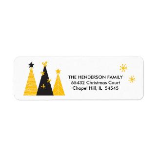 Black & Gold Modern Christmas Tree Return Address Return Address Label
