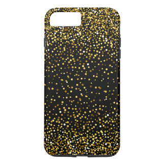 Black & Gold Modern Confetti Design iPhone 8 Plus/7 Plus Case