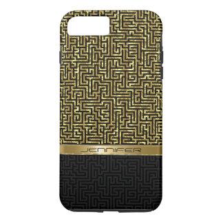Black & Gold Modern Geometric Pattern iPhone 8 Plus/7 Plus Case