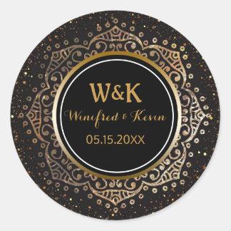 Black Gold Monogram | Boho Mandala Wedding Favor Round Sticker