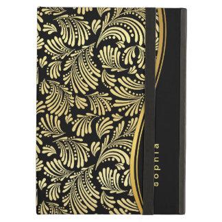 Black Gold Monogram iPad Folio Case For iPad Air