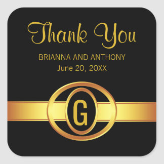 Black & Gold  Monogram Thank You Wedding Stickers
