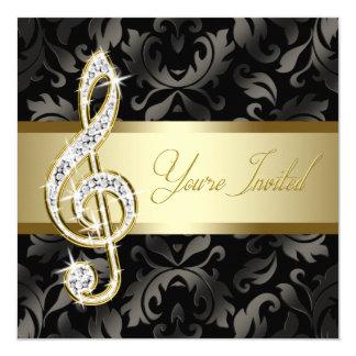 """Black Gold Music Treble Clef Recital 5.25"""" Square Invitation Card"""