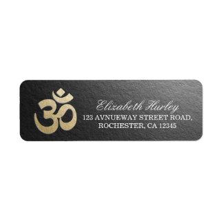 Black & Gold OM Symbol Yoga Mediation Instructor Return Address Label