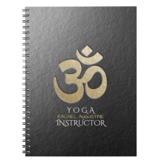 Black & Gold OM Symbol YOGA Meditation Instructor Notebook