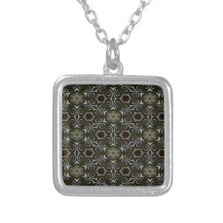 Black & gold optical illusion silver plated necklace