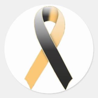 Black & Gold/Orange Ribbon Awareness Sticker
