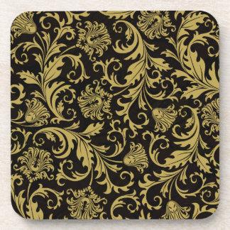 Black & Gold Ornate Floral Damask Design Pattern Coaster