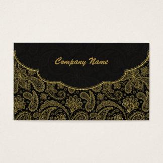 Black & Gold Ornate Paisley Pattern Business Card