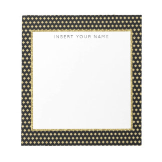 """Black & Gold Personalized Notepad 5.5"""" x 6"""""""