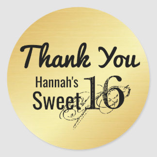 Black & Gold Personalized Sweet 16 Thank You Classic Round Sticker