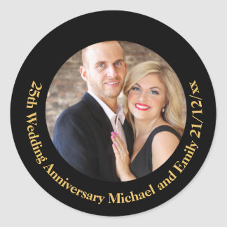 Black Gold PHOTO Wedding Anniversary Stickers