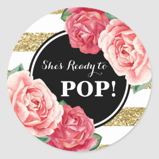 Black Gold Pink Floral Baby Shower Ready to Pop Classic Round Sticker