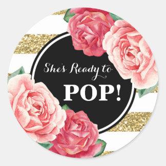 Black Gold Pink Floral Baby Shower Ready to Pop Round Sticker
