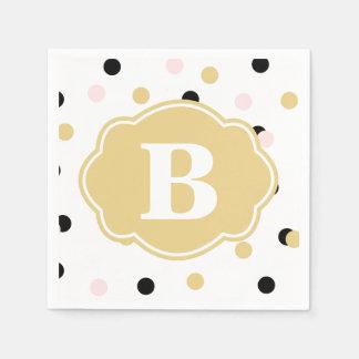 Black Gold Pink Polka Dot Monogram Napkins Paper Napkin
