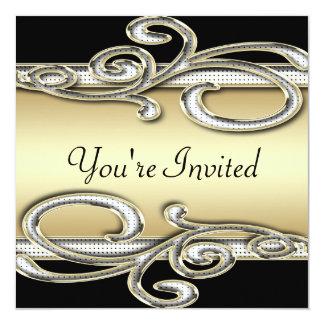 "Black & Gold Polka Dot Swirls Wedding 5.25"" Square Invitation Card"