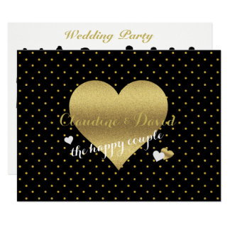 Black & Gold Polka Dot Wedding Party Program Card