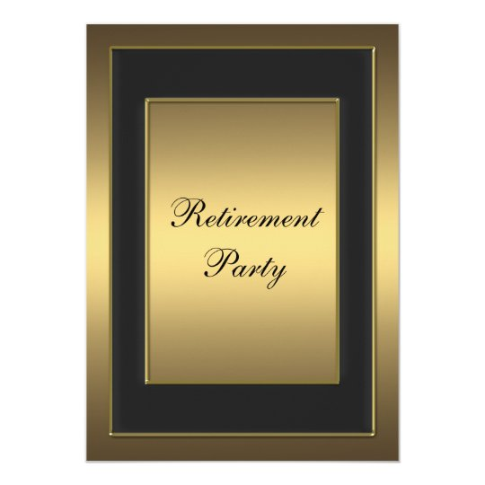 Black Gold Retirement Party Card