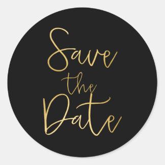 Black & Gold Script Type SAVE THE DATE Sticker