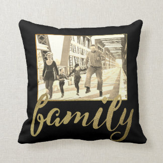 Black Gold Sepia Family Photo Cushion