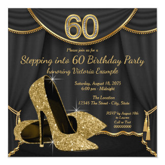 Black Gold Shoe Stepping into 60 Birthday Party 13 Cm X 13 Cm Square Invitation Card