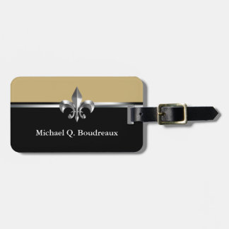 Black Gold Silver Fleur de Lis Luggage Tag