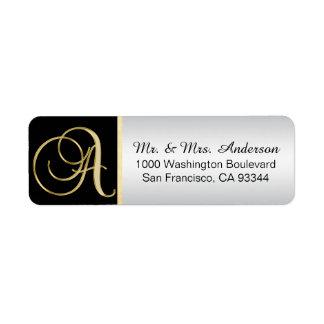 Black Gold Silver Monogram Return Address Envelope Return Address Label