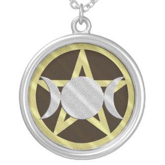 Black Gold Silver Pentagram Triple Goddess Silver Plated Necklace