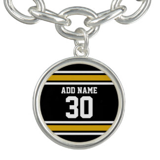 Black Gold Sports Jersey with Your Name and Number