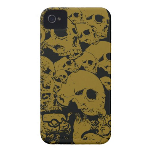 Black gold stacked skulls cool blackberry bold blackberry case