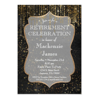 Black Gold Star Bling Retirement Party Invitation