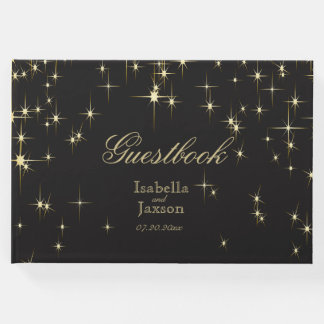 Black & Gold Star Lights Guestbook