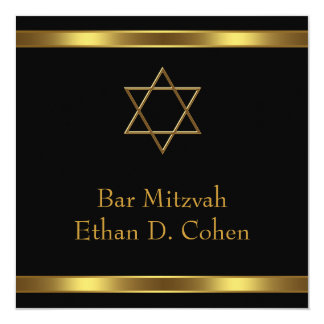 Black Gold Star of David Bar Mitzvah 13 Cm X 13 Cm Square Invitation Card
