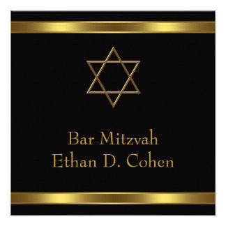 Black Gold Star of David Bar Mitzvah Personalized Invite