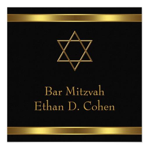 Black Gold Star of David Bar Mitzvah Personalized Invite