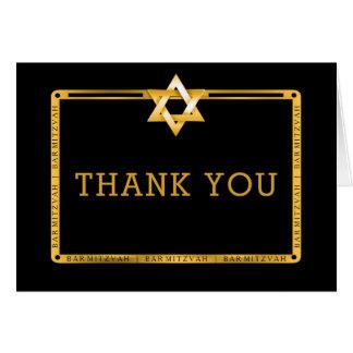 Black Gold Star of David Bar Mitzvah Thank You Card