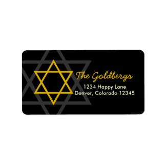 Black Gold Star of David Return Address Address Label
