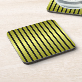 Black Gold Stripe Cork Coaster