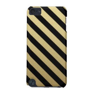 Black Gold Stripe Pattern Print Design iPod Touch 5G Cover