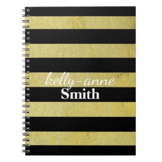 Black Gold Striped Glamorous kraft Notebooks