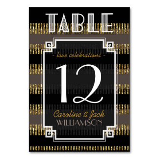 Black Gold Stripes + Art Deco Table Number Cards Table Card