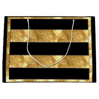 Black Gold Stripes Large Gift Bag