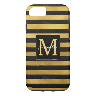 Black Gold Stripes Monogram iPhone 8/7 Case