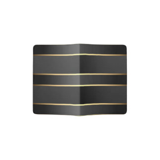 Black Gold Stripes Pattern Passport Holder