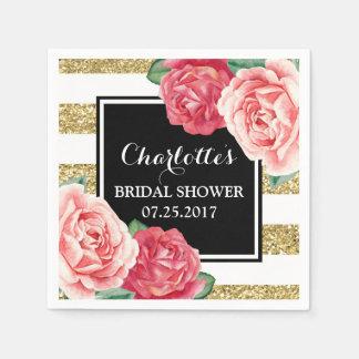 Black Gold Stripes Pink Flowers Bridal Shower Disposable Serviette